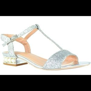 Women's Silver Ankle-Strap Pearly Flat